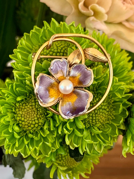 Vintage CREED Enamel Pansy and Pearl Gold Filled … - image 3