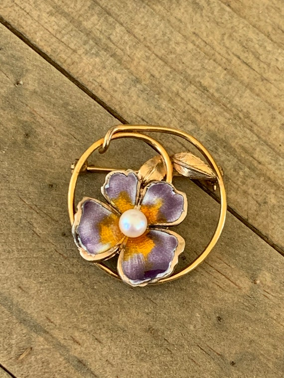 Vintage CREED Enamel Pansy and Pearl Gold Filled … - image 2