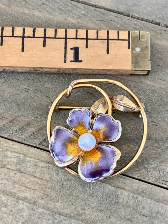 Vintage CREED Enamel Pansy and Pearl Gold Filled … - image 9