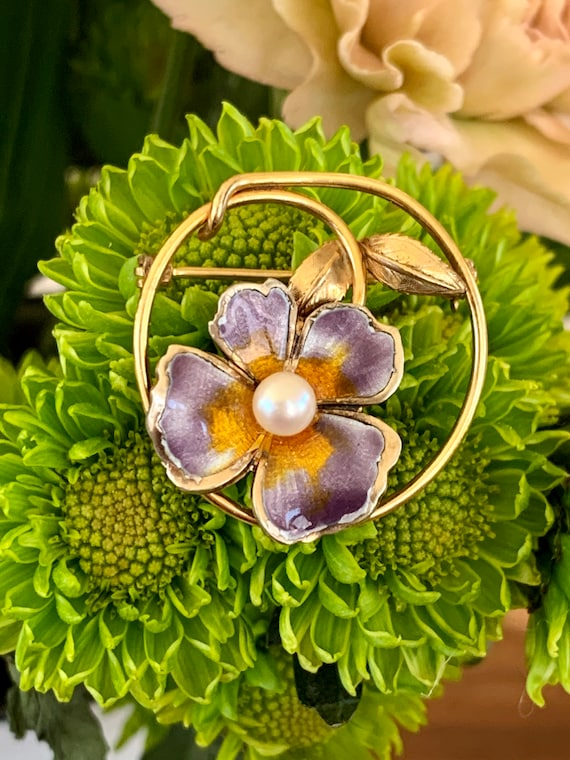 Vintage CREED Enamel Pansy and Pearl Gold Filled … - image 1