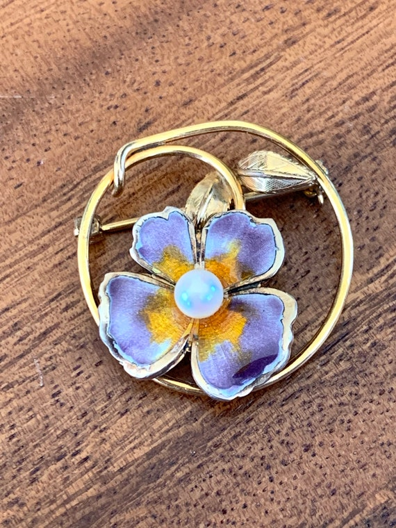 Vintage CREED Enamel Pansy and Pearl Gold Filled … - image 7