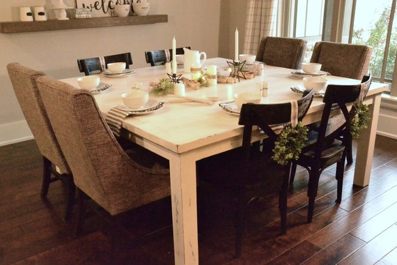 Custom Build Square Dining Table Painted White Distressed Etsy
