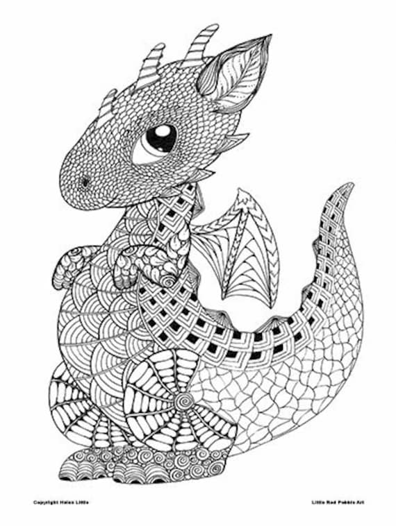 Cute Baby Dragon Colouring Page Download Zentangle Kids Etsy