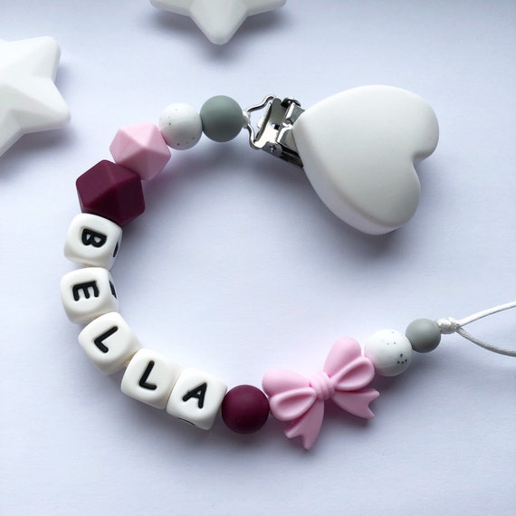 PERSONALISED DUMMY *2 X PINK MAM AND DUMMY CLIP* 0 MONTHS *CAN BE STERILISED*