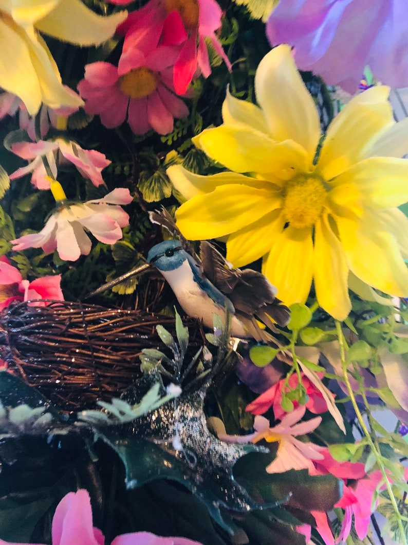 Easter swag, Spring swag with hummingbird and butterfly sping swag