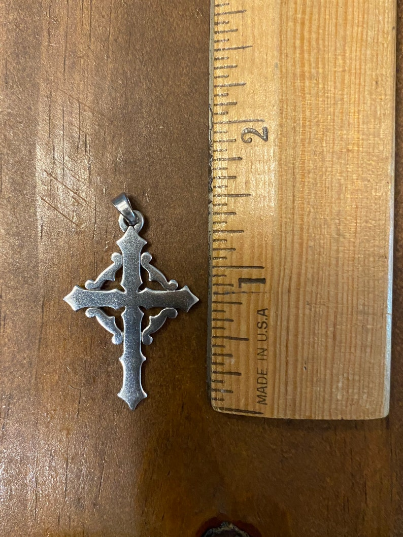 James Avery unique retired vintage butonee budded sterling silver cross J6