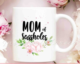 mom of sassholes coffee mug mom christmas gift funny mom birthday gift new mom mug mom again est 2018 mother personalized mug rd87