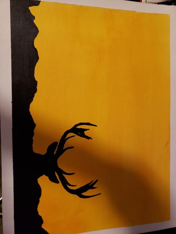 Cerf Dombre Peinture Acrylique Etsy