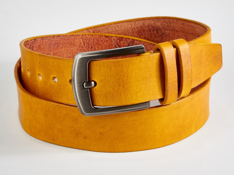 Custom Handmade leather belt. Italian ink Mustard Yellow image 0