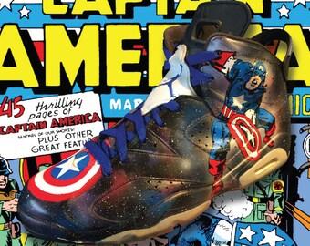 f473643e9ef3 Custom 1 of 1 Hand painted Jordan 6 Retro Marvel Captain America size 13