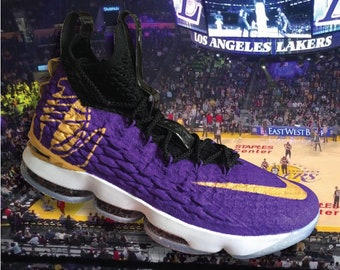 60c1014e97e Brand New Custom 1 of 1 Airbrushed LeBron 15 Lakers Basketball Shoes Size  9.5