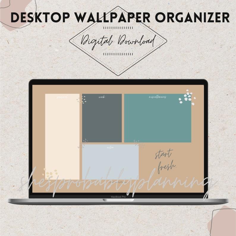 NEUTRAL VIBES 2 Desktop organizer Wallpaper organizer   Etsy
