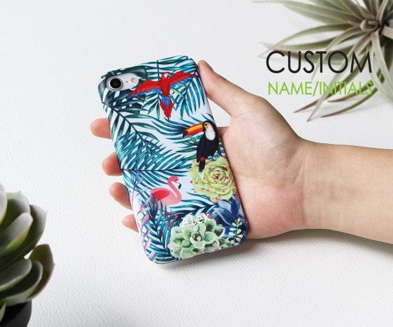 Oiseaux tropicaux personnalisée iPhone 8 cas 8 plus étui pour iPhone X étui iPhone 7 Plus étui personnalisé nom monogramme Samsung S7 S8 S9 Huawei