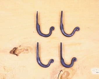 Wall hook set of 4 in rustic style with stylized sheet, hand forged, ideal for jackets, scarves, coats and work bags