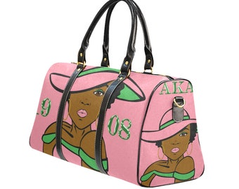 a3846532845 AKA Alpha Kappa Alpha HatDiva Travel Carry On Duffle Bag - Pink