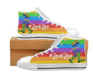 b34961af9a LGBT LoveisLove Rainbow Pride Month Canvas Mens Womens Sneakers Tennis  Shoes - white