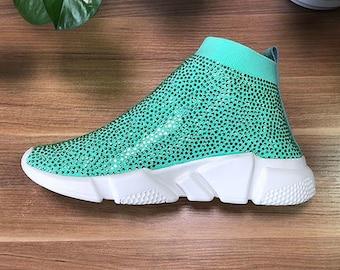 promo code e7135 d13e4 Mint Rhinestone Bling Speed Trainers Sock Sneakers