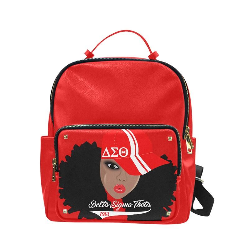 DST Delta Sigma Theta AfroChic Taiga Leather BookbagBackpack