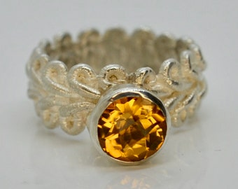 SPITZENRING 54 1/2 with gold tops / citrine 925 he silver ecosilver