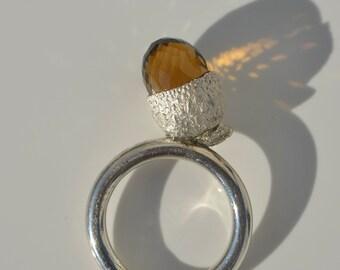 EICHEL (Size: 54) Smoky quartz in solid silver