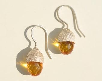 Amber Acorn Earrings for Dirndl, the Wiesn or Hunting