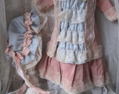 Vintage antique doll dress Jumeau dolldress hood bonnet French Victorian boudoir