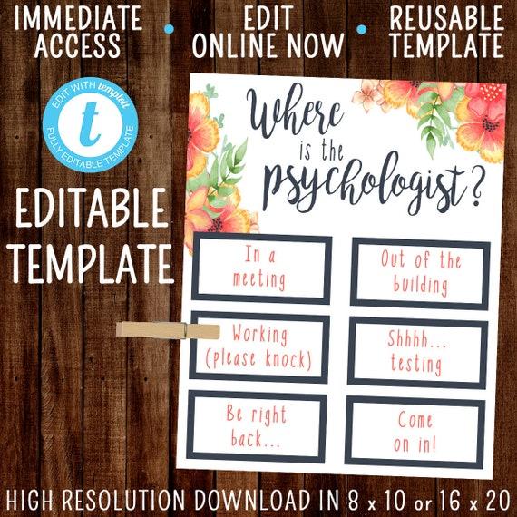 Editable Where Is The Psychologist School Psychologist Etsy