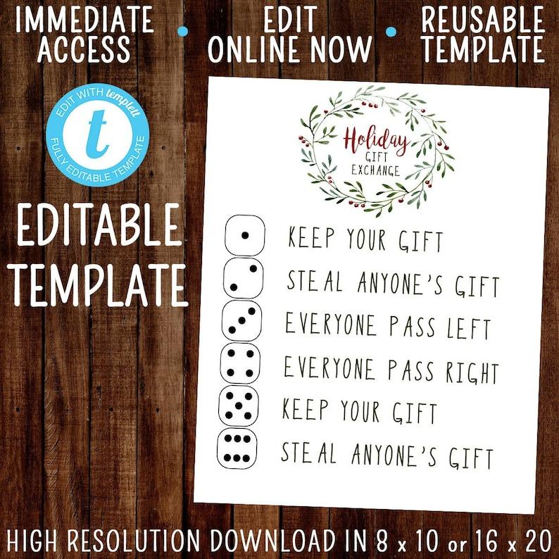 EDITABLE Christmas Gift Exchange Game Sign, Holiday Gift Exchange Dice Game