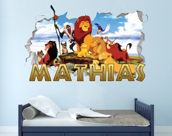 Custom your photo Kids Sticker Vinyl Decal 3D Wall Sticker Lion Simba Customize Your Name Wall Decal Decor VICK57