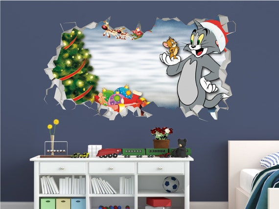 Tom And Jerry Christmas Wall Decal Decor Kids Sticker Vinyl Decal 3d Wall Sticker Custom Your Photo Gsl75