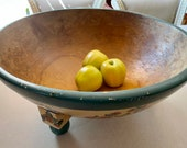 Out of Round Treen Dough Bowl Vintage Chinoiserie Painted Dough Extra Large HTF Size