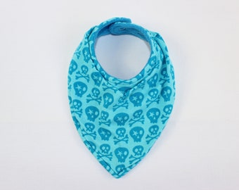 Winter scarf baby neck scarf turquoise with skulls neck scarf lined