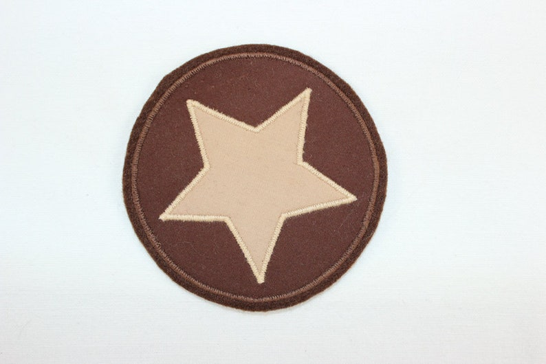 patching application brown-beige patch Ironing image star in circle