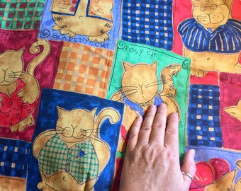 Primitive Alley Cat Fabric Wall Quilt Top Printed Fabric Plaid Background