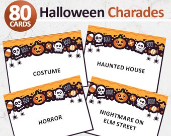Halloween Charades Party Game Printable PDF Printable 32 Different Charade Prompts on Decorative Cards INSTANT DOWNLOAD