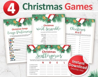 Printable Christmas games bundle, Christmas party games package, Christmas in July, Instant Download