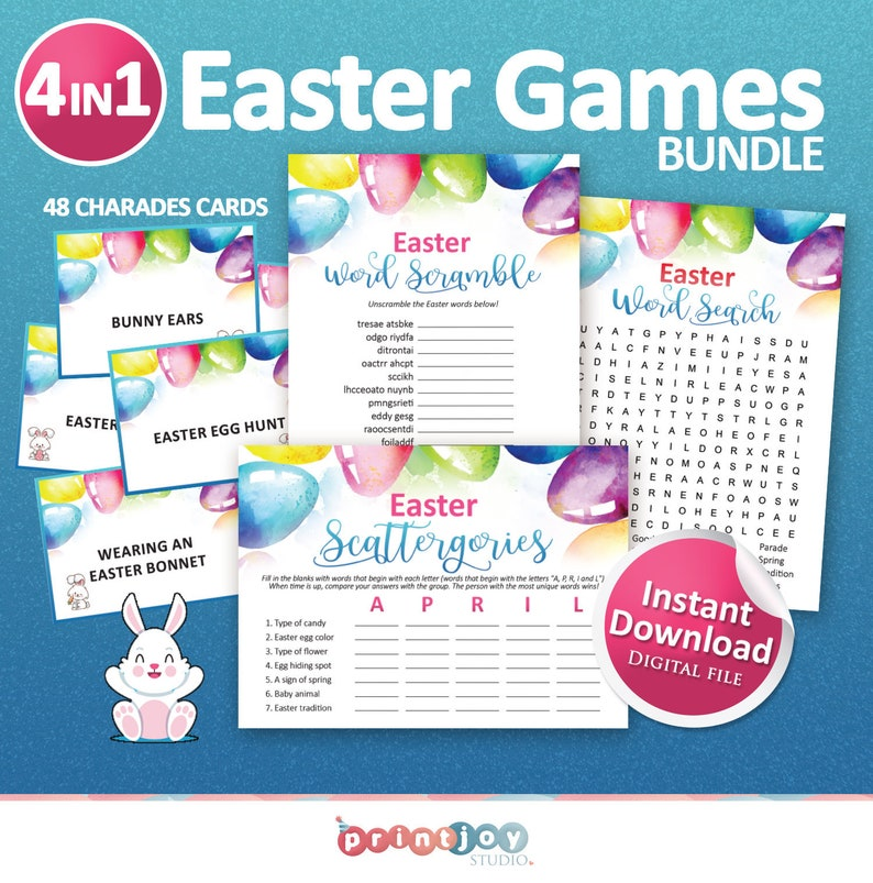 Easter print Printable games Games for adults Easter printables Adult games Family games Easter games bundle Kids games