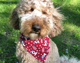 Patriotic red flag reversible dog bandana, Free Shipping, pet dog cat bandana, over collar bandana, slide on collar bandana, July 4th