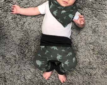 Olive Green Dino Dinosaur print Maxaloones Grow with Me pants leggings Infant, Newborn, Baby, Toddler sizes