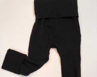 Solid black Maxaloones Grow with Me pants leggings Infant, Newborn, Baby, Toddler sizes