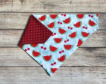 Watermelon reversible dog bandana, Free Shipping, pet/cat bandana, over collar bandana, slide on collar bandana