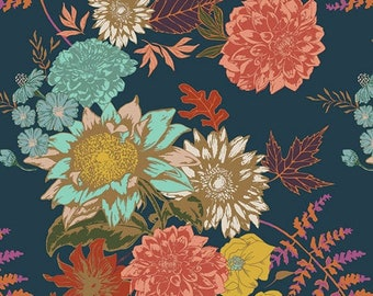Art Gallery Floral Glow Twilit in Knit fabric by the yard, cotton spandex, floral fabric, Autumn, leaves, stretch fabric