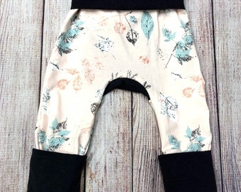 Autumn Fall leaves print Grow with Me pants leggings Infant, Newborn, Baby, Toddler sizes