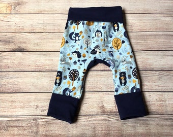 Woodland themed animals forest Grow with Me pants leggings Infant, Newborn, Baby, Toddler sizes