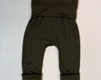 Solid Heathered Olive Green Maxaloones Grow with Me pants leggings Infant, Newborn, Baby, Toddler sizes