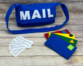 Kids mailbag with letters, pretend play, Free Shipping, mailman, careers, felt toys