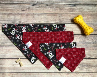 Black dogs & snowflakes reversible dog bandana, pet dog bandana, over collar bandana, slide on collar, Christmas Holiday gift, candy cane