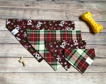 Red dogs & holiday plaid reversible dog bandana, pet dog bandana, over collar bandana, slide on collar, Christmas Holiday gift, candy canes