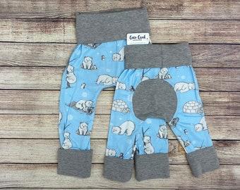 Polar Bear animal print Christmas, Winter Maxaloon, Grow with me pants baby boy baby girl baby first christmas gift