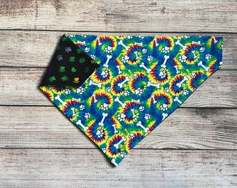 Tie dye bone reversible dog bandana, Free Shipping, pet dog cat bandana, over collar bandana, slide on collar bandana